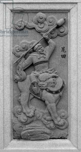 Malaysia / China: Carving of Chao Tian, depicting his role in the 16th Century Ming Dynasty novel 'Fengshen Yanyi' ('Investiture of the Gods'). From Ping Sien Si Temple, Pasir Panjang Laut