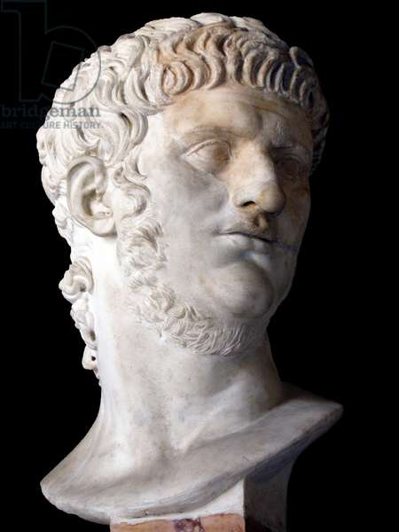 Italy: Marble bust of Nero Caesar (37-68 CE), 5th Roman Emperor, c. 1st Century CE. Currently displayed in the Capitoline Museum, Rome