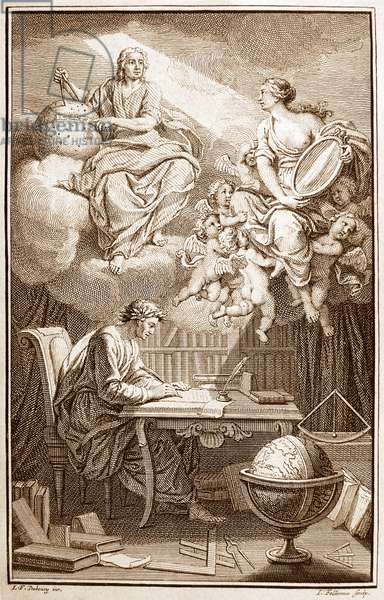 """France: Frontispiece of Voltaire's (1694-1778) interpretation of Isaac Newton's work, """"Elemens de la philosophie de Newton"""", with Voltaire depicted translating the work of Newton, who illuminates him from above. C. 1738"""