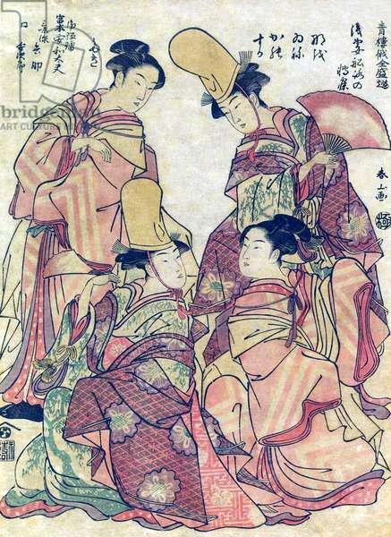 Japan: Girls in dancing dress from the series, 'Popular Entertainment at the Niwaka Festival' ('Seiro Niwaka Zensei Asobi'). Katsukawa Shunsho, c. 1790