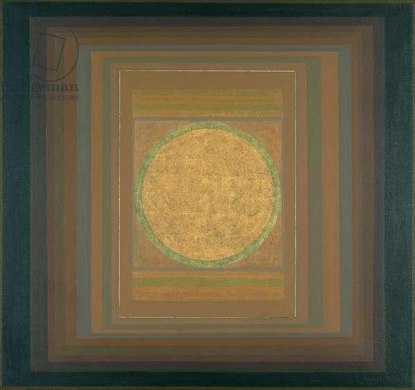 Janicon XLIII, 2001 (silver and gold leaf on canvas)
