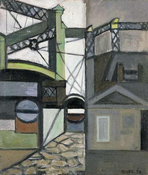Gasworks, Bristol Harbour, 1950 (oil on board)