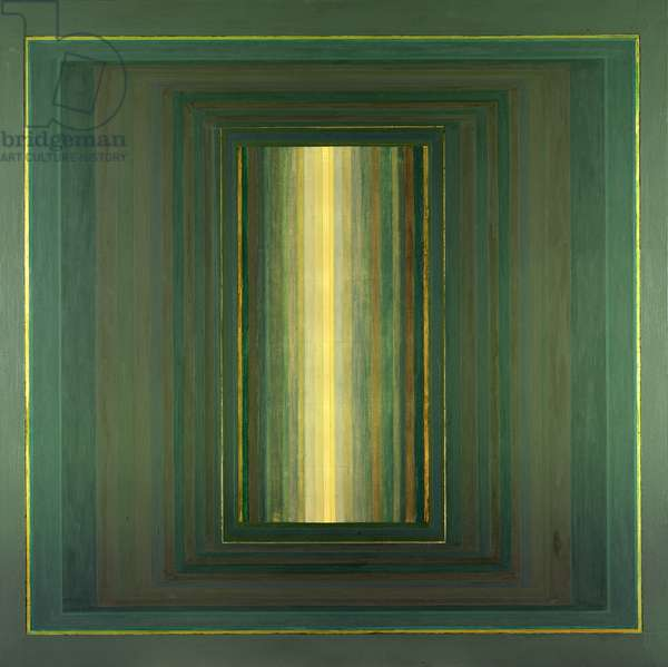 Janicon XLV, 2001 (silver and gold leaf on canvas)