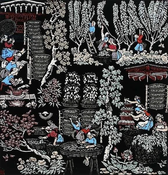 Perpetual Spring, 1960 (colour woodcut print)