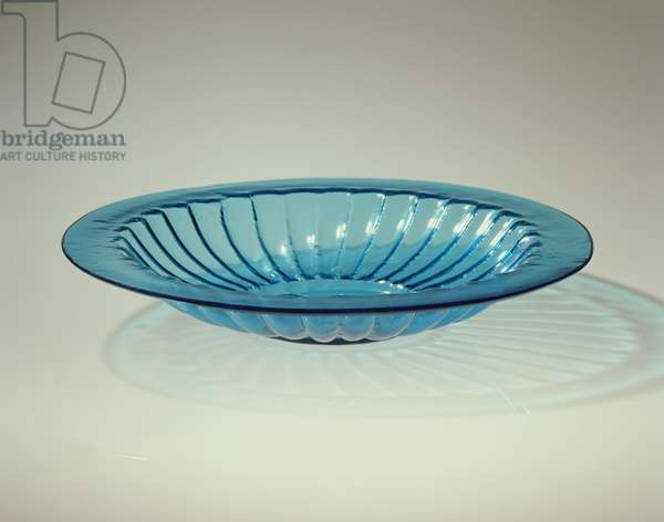 Chrysanthemum-shaped Dish, Chinese, Qing dynasty, 18th century (blue glass)