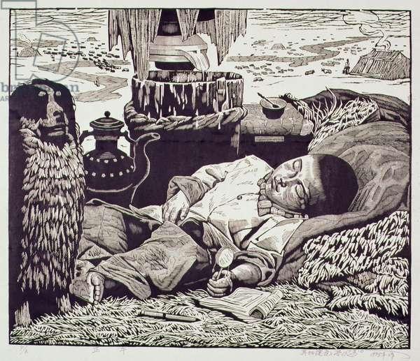 Midday (Zhengwu) 1998 (woodcut)