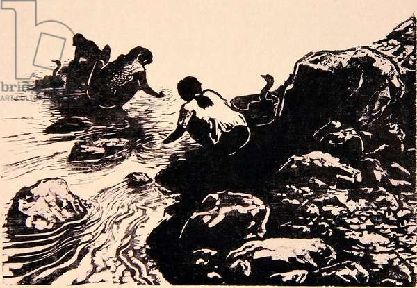 Mountain Stream (Shanxi) 1998 (woodcut)