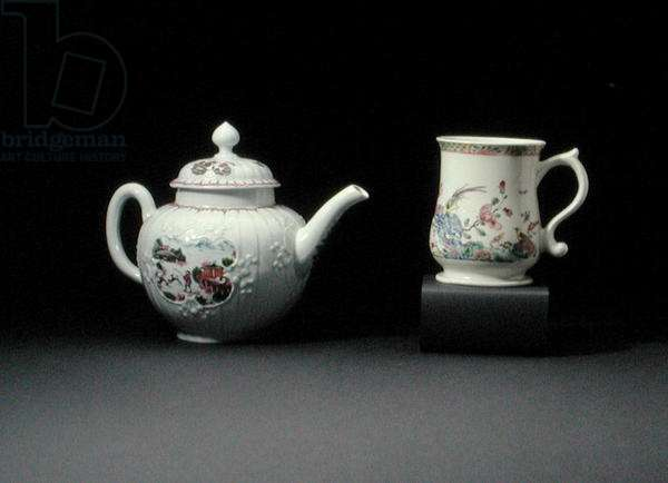 L-R: Worcester teapot painted with the 'Staghunt' pattern, Worcester baluster mug painted in Chinese famille rose taste, c.1752 (porcelain)