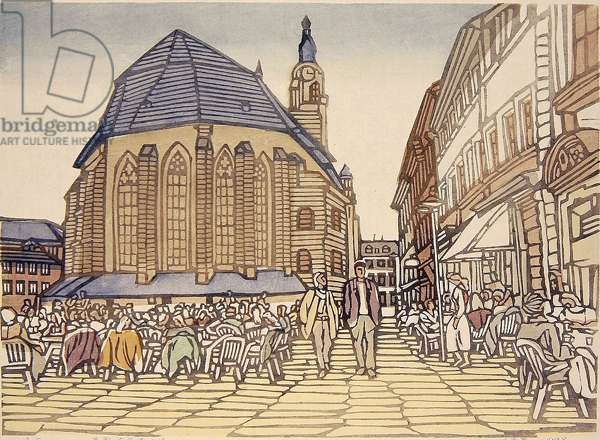 Heidelberg Square (Deguo Haidebao guangchang) 1998 (colour woodcut)