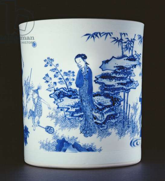 Blue and white brushpot painted with a lady and boys playing on hobbyhorses in a garden, Chongzheng, 1630-44 (porcelain) (see 205937)