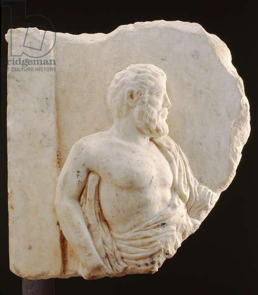 Bas-relief of a philosopher, Greek, 4th-3rd century BC (marble)