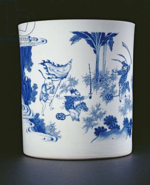 Blue and white brushpot painted with a lady and boys playing on hobbyhorses, Chongzheng, 1630-44 (porcelain) (see 205936)