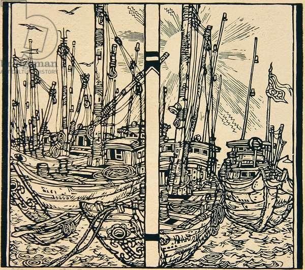 Fishing Boats (Yuzhou) 1998 (woodcut)