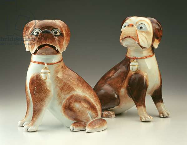 Pair of Pug dogs (porcelain)