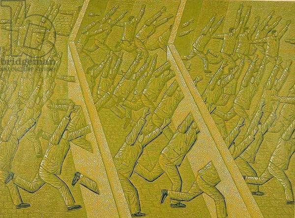 People coming through the wall (Chuan quang er guo de ren) 1998 (colour woodcut)