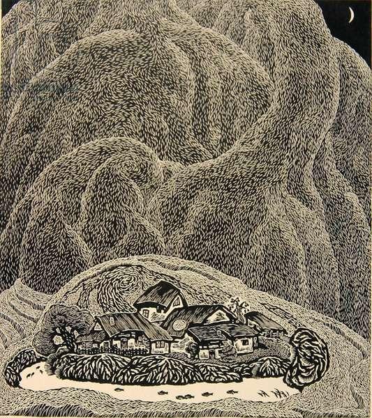 Bashan Moon (Bashan yue) 1998 (woodcut)