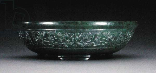 Marriage bowl with a band of archaistic phoenix and fish on four bracket feet (stoneware) (exterior of 208370)