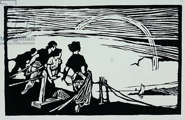 Working with Nets, from illustrations for 'Twelve Fishermen's Songs', 1960 (woodcut print)