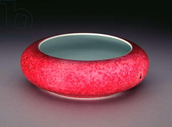 A Chinese porcelain peachbloom glaze brushwasher (porcelain)