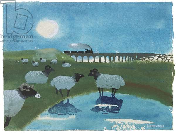 Sheep and Train, 1992 (gouache on paper)