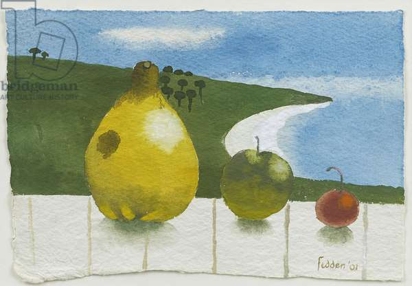 Three Fruit by the Sea, 2001 (gouache on paper)