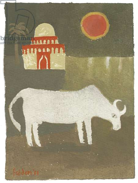 Landscape with Bull, 2001 (gouache on paper)