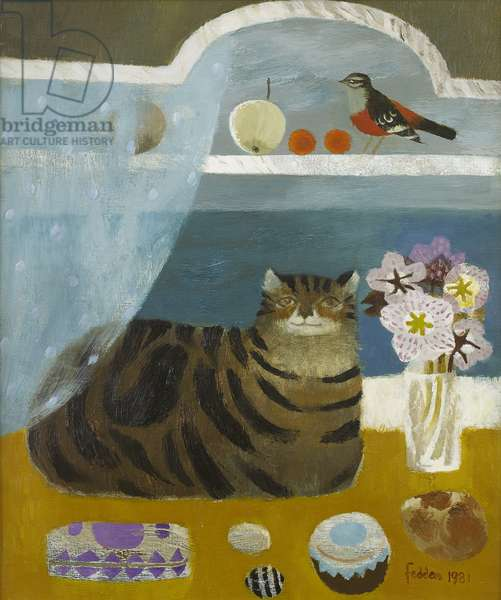Tabby Cat by a Window, 1981 (oil on canvas)