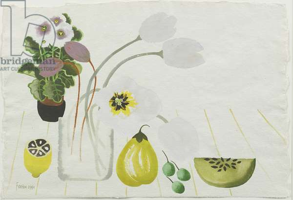 Still life with Tulips, 1991 (gouache on paper)