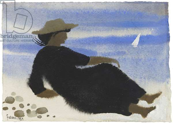 Lady on the Shore, 1988 (gouache on paper)