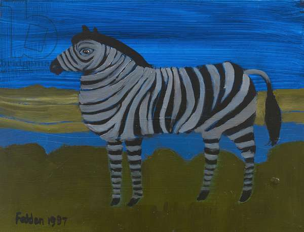 Zebra, 1987 (oil on board)