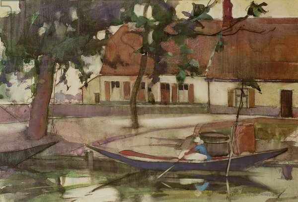 Boat on a Canal, French Village
