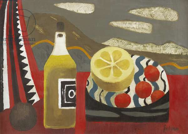 Red Table with Grapefuit (oil on board)