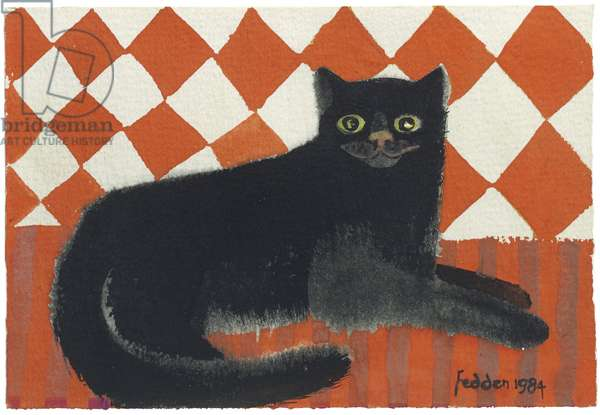 Lulu On Red, 1984 (gouache on paper)