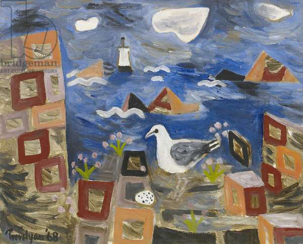Seagull and Lighthouse, 1968 (oil on canvas)
