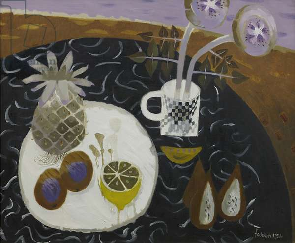 Still life with Pineapple and Lemon, 1986 (oil on canvas)