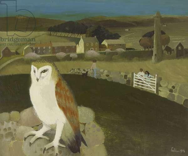 Dartmoor with Barn Owl, 1976 (oil on canvas)