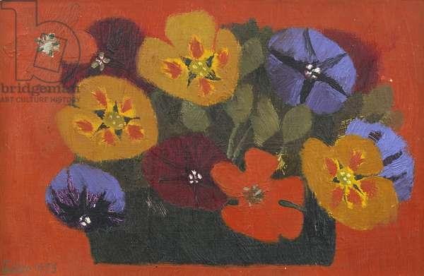 Pansies, 1975 (oil on board)