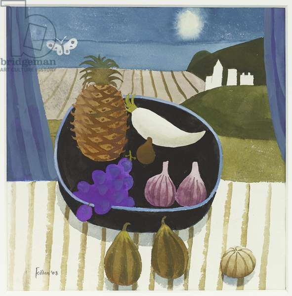 Moonlit Still Life with Butterfly, 2008 (gouache on paper)