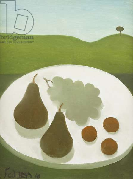 Fruit: Pears and Grapes, 2010 (oil on canvas)