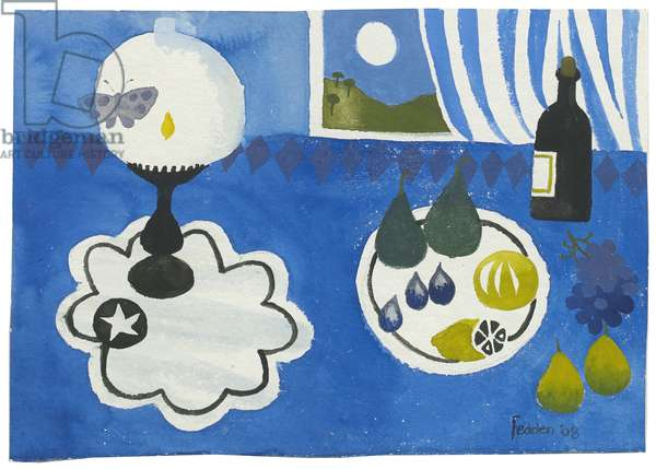 Butterfly and Lamp, 2008 (gouache on paper)