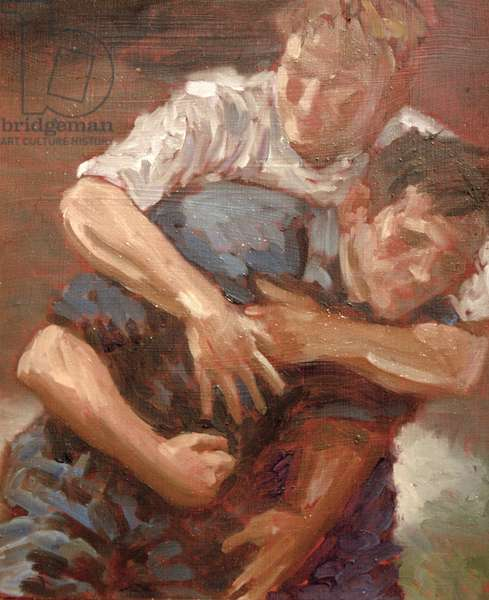 Wrestlers (oil on canvas)
