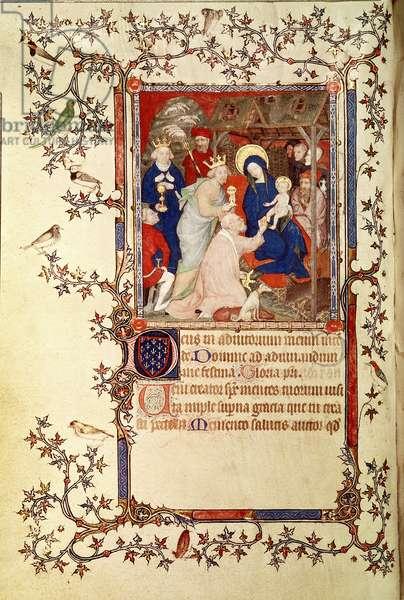 Lat 18014 f.42v The Adoration of the Magi, from Les Petites Heures de Duc de Berry, c.1385-90 (vellum)