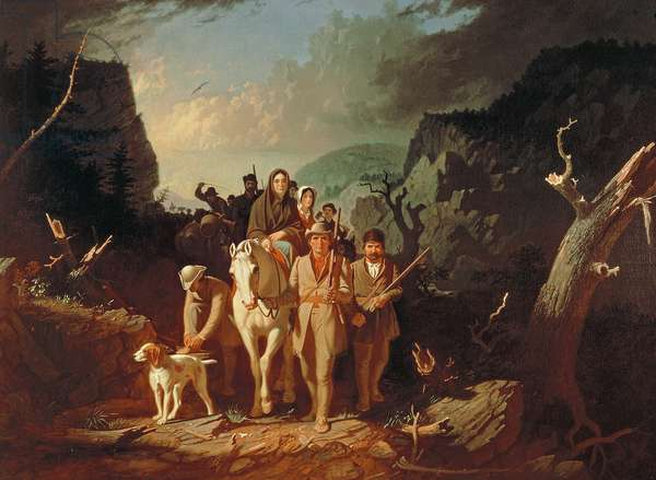 Daniel Boone escorting settlers through the Cumberland Gap, 1851-52 (oil on canvas)