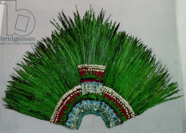 Feather headdress worn by Aztec priests representing deities (feathers, gold applique & fibre net)