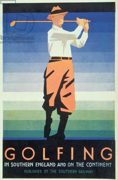 Golfing - In Southern England and the Continent, Poster Advertisement Published by the Southern Railway
