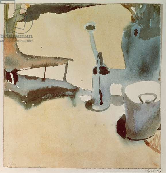 Flower stand with watering can and bucket, 1910 (no 47) (w/c on paper on cardboard)