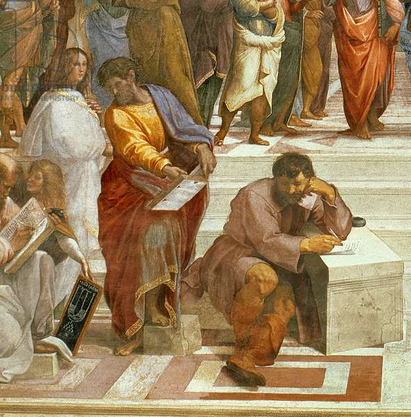 The School of Athens, detail of the figures on the left hand side, 1510-11 (fresco) (detail of 87597)