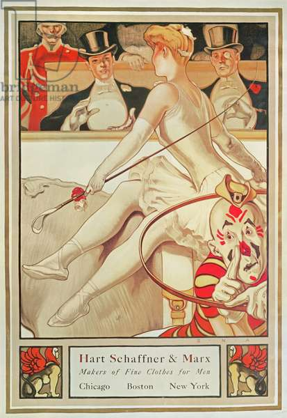 Poster advertising Hart Schaffner & Marx, Makers of Fine Clothes for Men, c.1925 (colour litho)                                                          & Marx makers of Fine Clothes for Men, USA by S.N. Abbott (b.1874) c.1925 (poster)