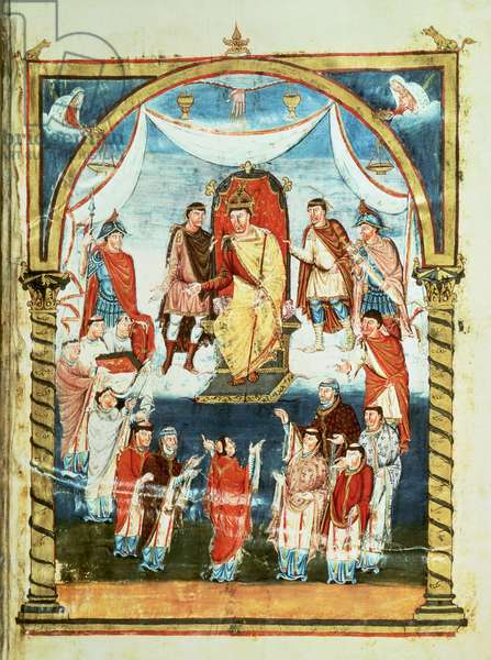 ds Lat 1 fol.423r King Charles II Receiving a Bible from Count Vivian and the Monks of Saint-Martin de Tours, from the First Bible of Charles the Bald, c.843-51 (vellum)