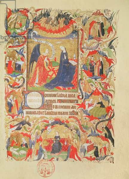 Ms 469 f.13 Annunciation with episodes from the Life of the Virgin (vellum)